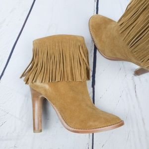 Joie Cambrie Chestnut Tan Suede Fringe Bootie